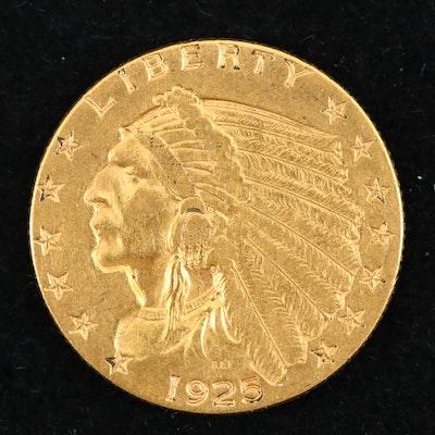 1925-D Indian Head $2.50 Quarter Eagle Gold Coin