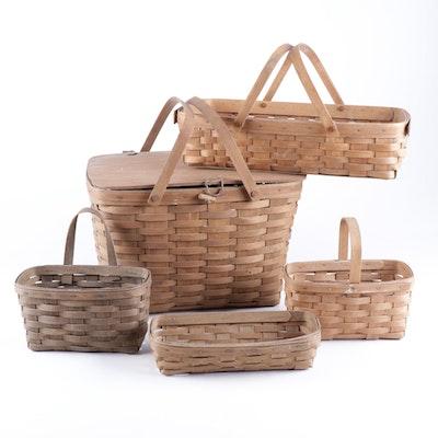 Five Longaberger Baskets, 1980s