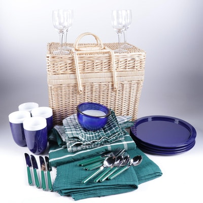 Wicker Picnic Basket, Casual Flatware, Drinkware and Linens