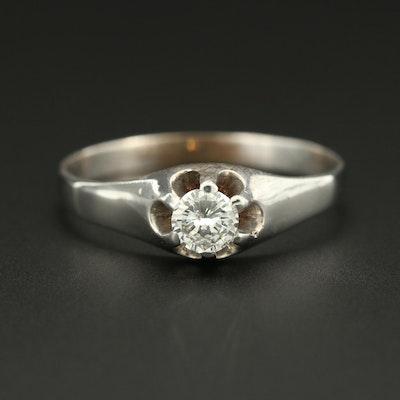 10K White Gold Diamond Belcher  Ring