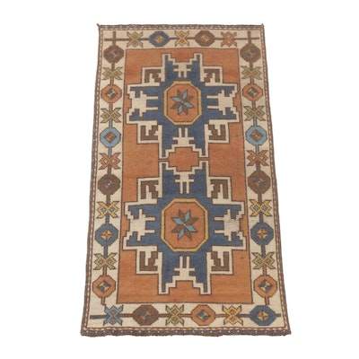2'3 x 4'1 Hand-Knotted Caucasian Kazak Rug, Semi-Antique