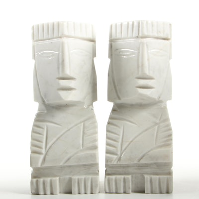 Carved Marble Aztec Style Sculptures, Mid-20th Century