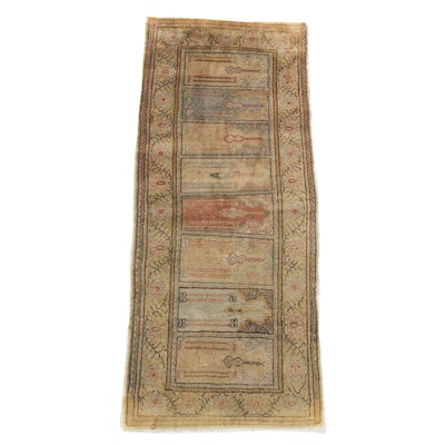 1'10 x 4'10 Hand-Knotted Silk Turkish Kaysari Rug, Antique