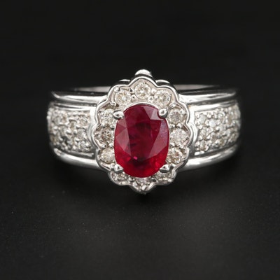 14K White Gold 1.16 CT Ruby and Diamond Ring