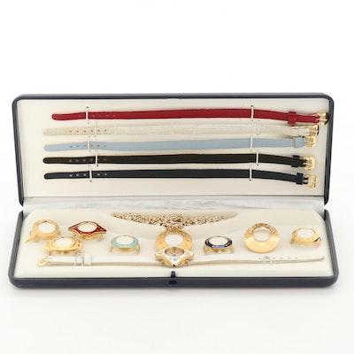 Bucherer Quartz Wristwatch With Interchangeable Bands and Bezels