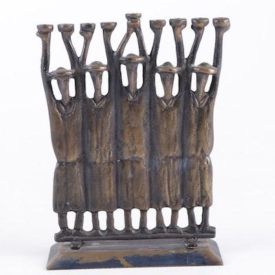 Alef Judaica Figural Brass Menorah, Vintage