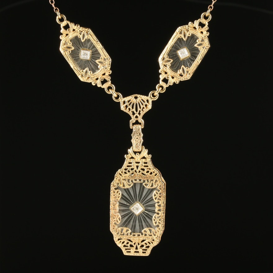 LaVintage 14K Yellow Gold Diamond and Rock Crystal Quartz Necklace