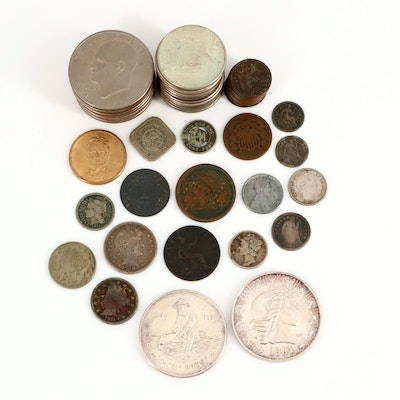 Assortment of Antique to Vintage U.S. Coins, and Two 1-Oz. Silver Rounds