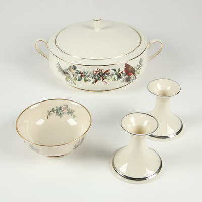 """Lenox """"Winter Greetings"""" Porcelain Covered Vegetable Dish and Tableware"""
