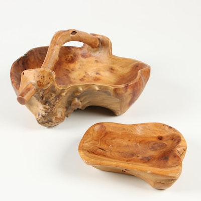 Burl Wood Rustic Basket and Bowl, Contemporary