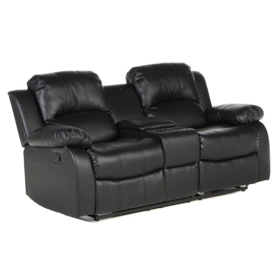 Black Vinyl Reclining Loveseat