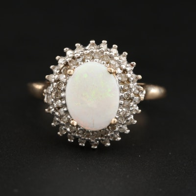 10K Yellow and White Gold Opal and Diamond Ring
