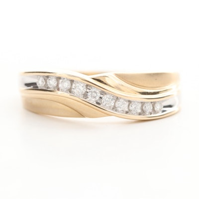 10K Yellow and White Gold Diamond Ring