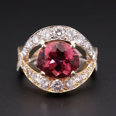 Ben Dannie 18K Yellow Gold 3.71 CT Pink Tourmaline and 2.97 CTW Diamond Ring