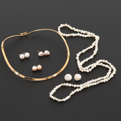 Necklaces and Earrings Featuring 14K, Sterling  and Cultured Pearls
