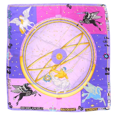 Versace Andy Warhol Pop Art Print Silk Scarf, Spring and Summer 1991 Collection