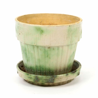 Ohio Pottery Planter with Attached Drip Plate