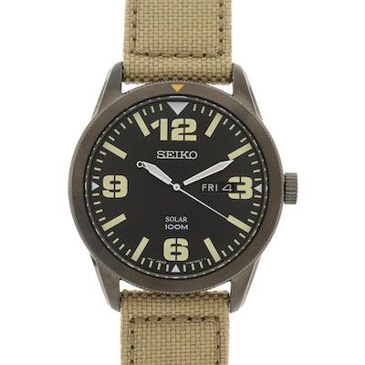 Seiko Solar Black Stainless Steel Wristwatch