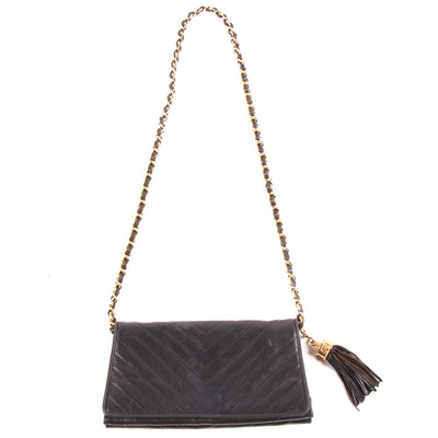 Chanel Chevron Quilted Black Lambskin Leather Shoulder Bag with Tassel, Vintage