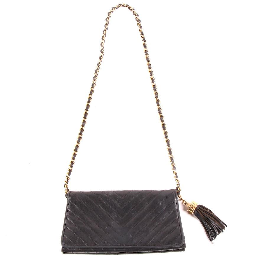 Chanel Chevron Quilted Black Lambskin Leather Shoulder Bag with Tassel, Vintage