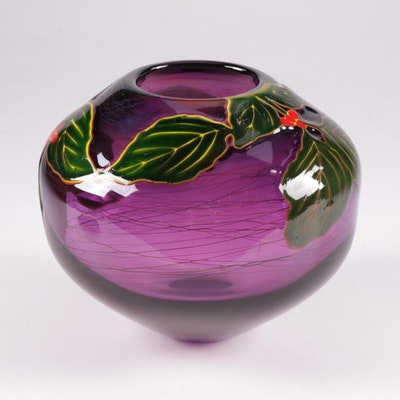 Rick & Valerie Beck Art Glass Amethyst & Foliage Pot Vase