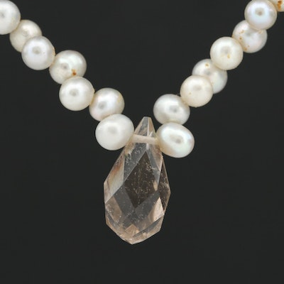 Suzanne Kalan Sterling Silver Quartz and Cultured Pearl Necklace