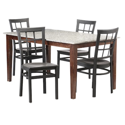 Granite Top Dining Table with Metal Chairs, Late 20th Century