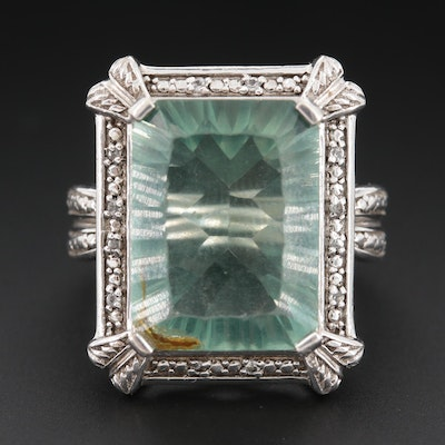Sterling Silver Fluorite and Topaz Ring