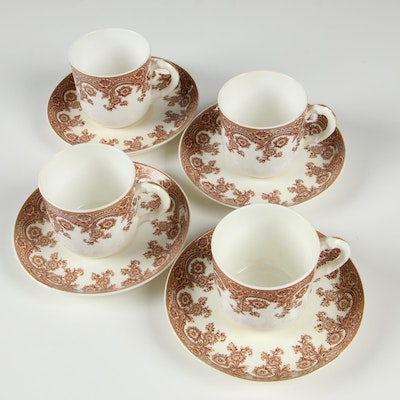 Royal Worcester Porcelain Demitasse Teacups and Saucers, Early 20th Century