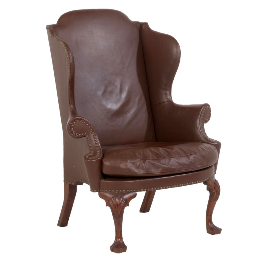 W Brian Pierce Dutch Baroque Style Leather-Upholstered Wingback Armchair