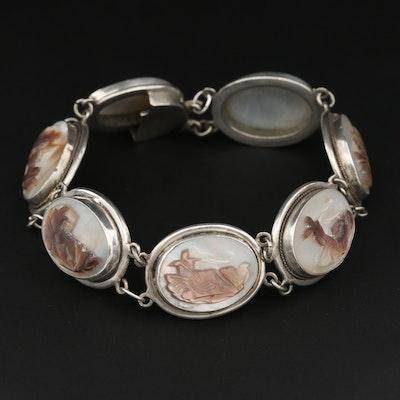 Vintage 800 Silver Mother of Pearl Bracelet