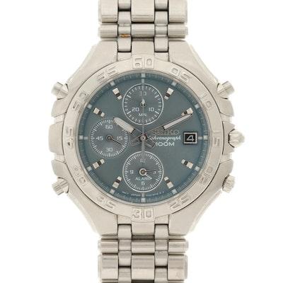 Seiko Stainless Steel Quartz Chronograph Wristwatch With Alarm