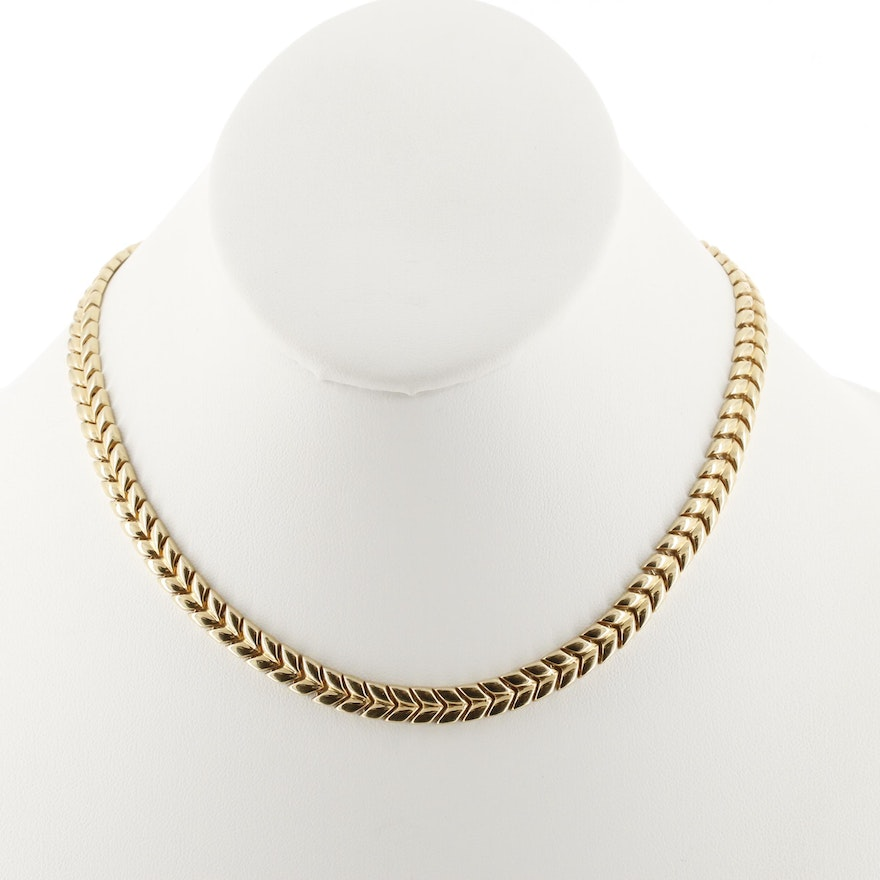 14K Yellow Gold Chevron Link Necklace