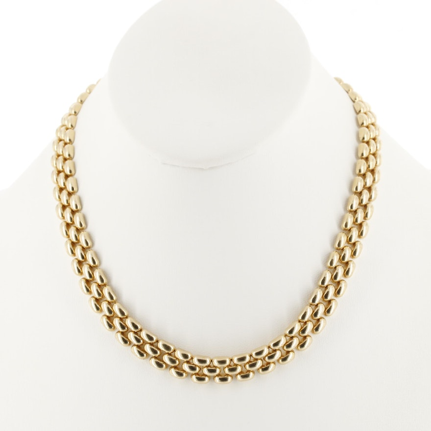 14K Yellow Gold Panther Chain Necklace