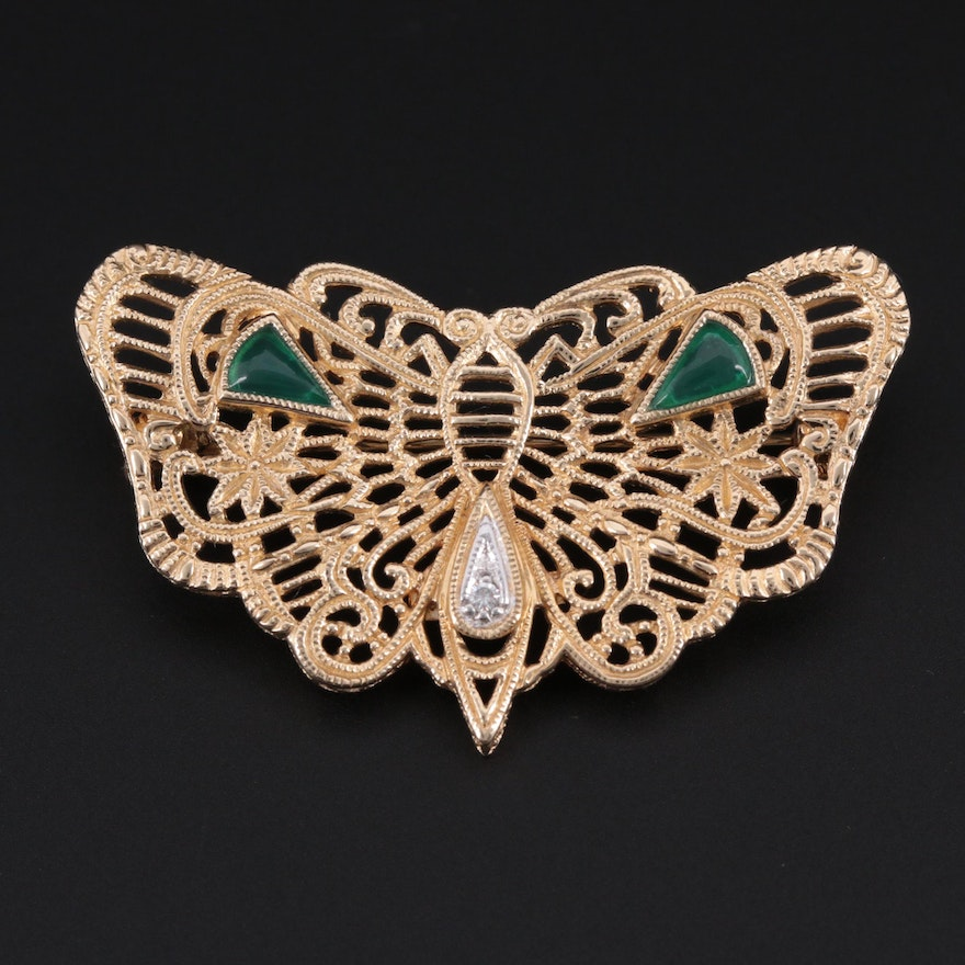 14K Yellow Gold Diamond and Chalcedony Butterfly Openwork Brooch
