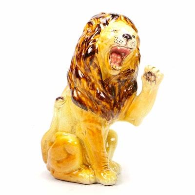 Italian Hand-Painted Roaring Ceramic Lion Figurine