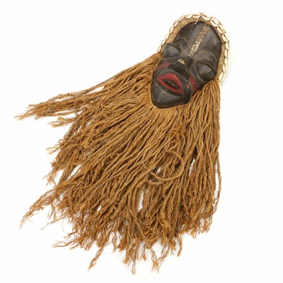 West African Dan Style Hand-Carved Wood and Jute Mask