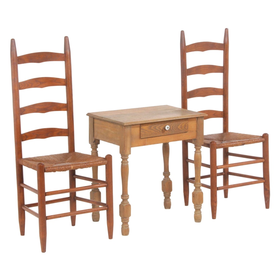 American Primitive Style Oak Rush Seat Ladder-Back Side Chairs and Table