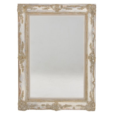 Wall Mirror with Antiqued Gilt and White Gesso Frame