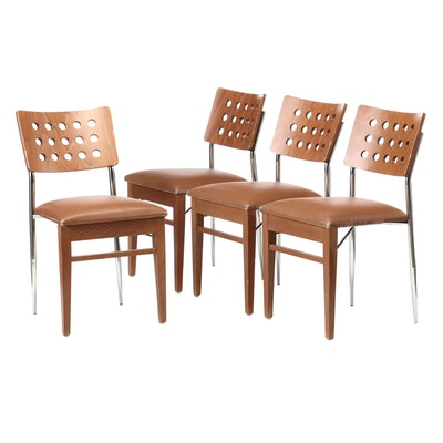 Beaufurn, Modern Birch and Chrome Dining Chairs, 21st Century