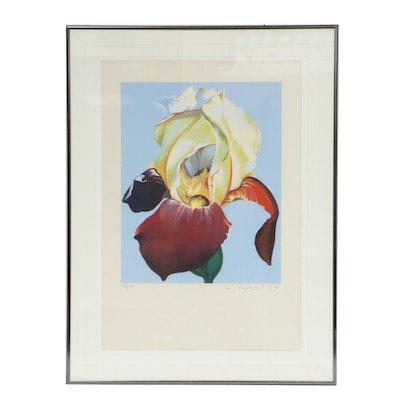 """Lowell Blair Nesbitt Serigraph """"Red and Yellow Iris"""", 1980"""