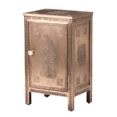 Embossed Copper Tone Cabinet, Contemporary