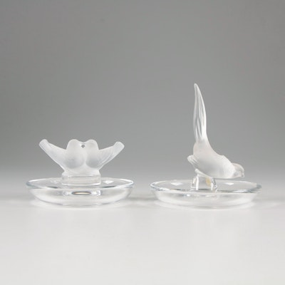 "Lalique ""Colombes"" and ""Faisan"" Frosted Crystal Ring Trays"