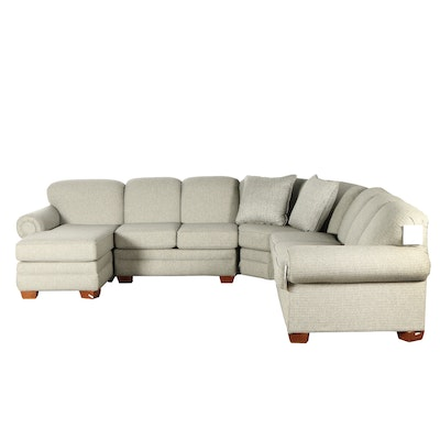 Front Room Furnishings Gray-Upholstered Sectional Sofa