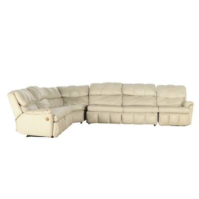 Three Piece Vinyl Sectional with Sleeper, Late 20th Century