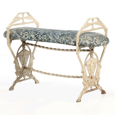 Art Deco Cream-Painted Cast Iron Bench, Circa 1930