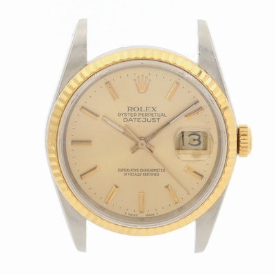 Vintage Rolex Datejust 16233 18K Gold and Stainless Steel Watch