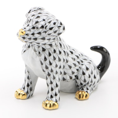 "Herend Black Fishnet with Gold ""Puppy"" Porcelain Figurine"