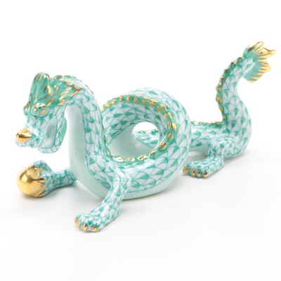 "Herend Green Fishnet with Gold ""Small Dragon"" Porcelain Figurine"