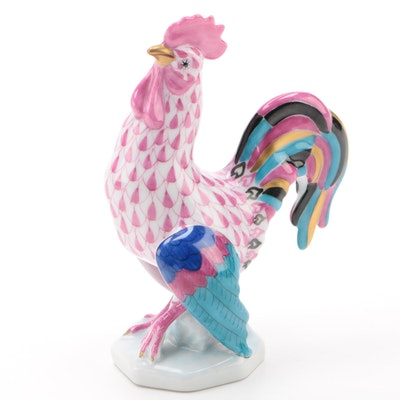 "Herend Raspberry Fishnet with Gold ""Rooster"" Porcelain Figurine, January 1994"